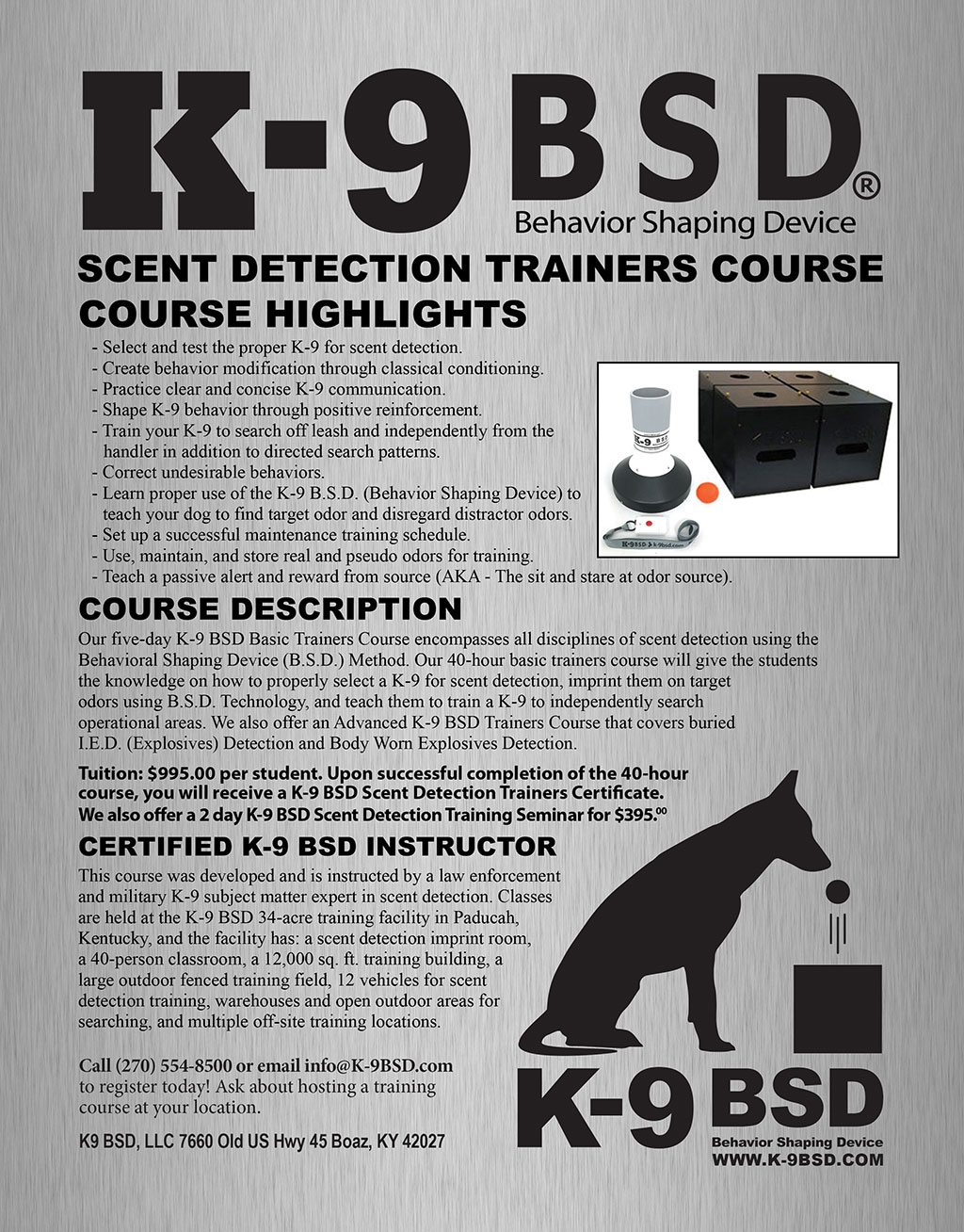 K-9 BSD Scent Detection Trainers Course